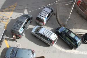 Blockade von Minibussen in Oruro, Bolivien