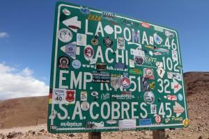 Schild an der Abray del Acay, RN 40, Argentinien